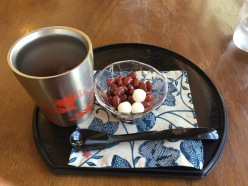 Ice in the cup, beans and mochi in the dish!
